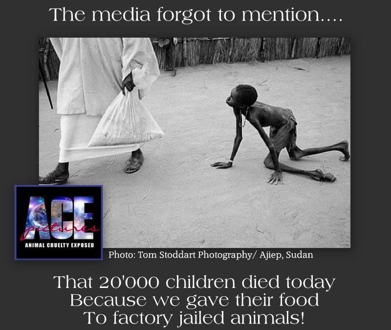 Die Medien haben auch heute wieder vergessen zu erwähnen, dass heute wieder 20.000 Kinder gestorben sind. Weil wir deren Nahrung den Tieren gegeben haben, die in den Tierfabriken eingesperrt sind.