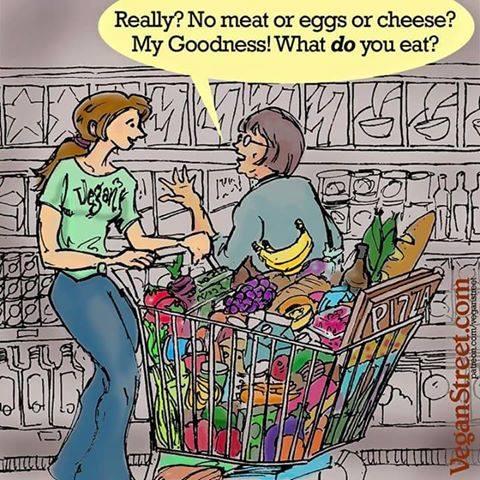Wirklich? Kein Fleisch oder Eier oder Käse?Mein Gott! Was isst Du denn dann?