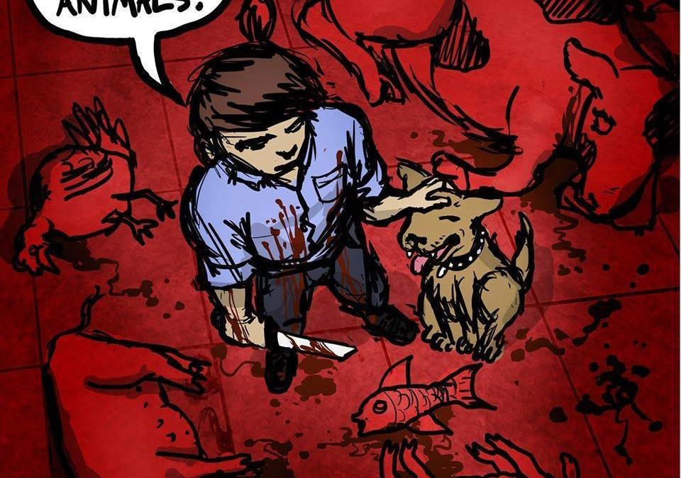 """Der """"moderne"""" Tierschützer liebt Hunde und Katzen über alles und hinterlässt ein grauenvolles Blutbad und Schlachtfeld, wenn es den eigenen Gaumenkitzel und die Fütterung seiner geliebten Tiere geht"""