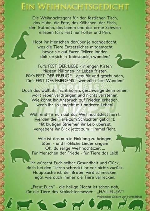 Weihnachtsgedicht mit tieren