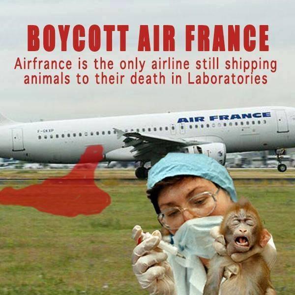 Boykottiere Air France! – Die einzige Fluglinie der Welt, die Tiere in den qualvollen Tod der Tierversuchslabore transportiert