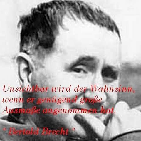 """""""Unsichtbar wird der Wahnsinn, wenn er genügend grosse Ausmasse angenommen hat."""" Bertold Brecht"""