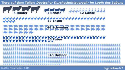 Tiere auf dem Teller: Durchschnittsverbrauch eines Deutschen im Laufe seines Lebens