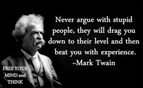 """""""Diskutiere nie mit dummen Leuten, sie werden dich auf ihr Level runterziehen und dich dann mit ihrer Erfahrung fertig machen"""""""