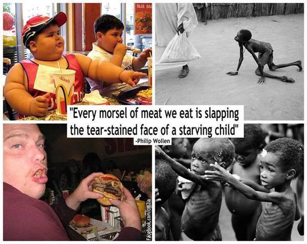 """""""Jedes Stück Fleisch, das wir essen, ist ein Schlag in das verweinte Gesicht eines verhungernden Kindes."""" – Philip Wollen"""