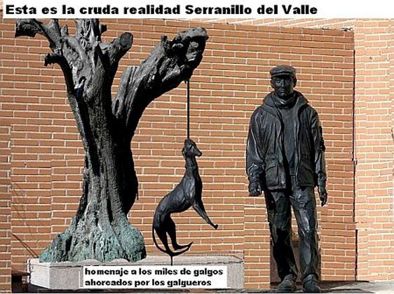 """Denkmal in Serranillo del Valle zur Erinnerung an die etwa 150.000 Jagdhunde, die in Spanien jedes Jahr von Jägern auf bestialische Art """"entsorgt"""" werden"""