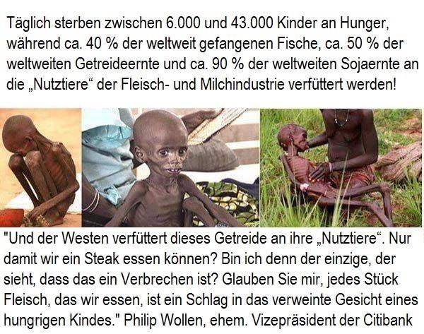 """""""Glauben Sie mir, jedes Stück Fleisch, das wir essen, ist ein Schlag in das verweinte Gesicht eines hungrigen Kindes!"""" Philip Wollen"""