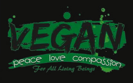 Vegan ist Frieden, Liebe und Mitgefühl für alle empfindungsfähigen Lebewesen –